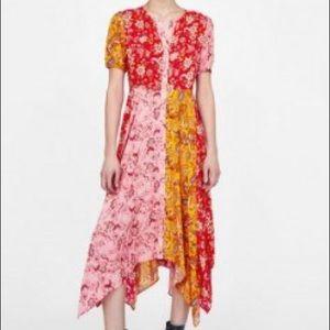 Zara red floral patchwork dress